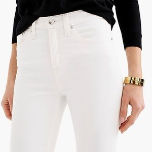 "J crew 9"" high rise white white toothpick jeans"